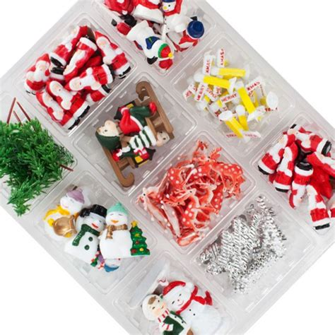 120 piece assorted christmas decorations in a display box