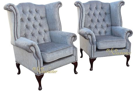 upholstery materials for chairs chesterfield offer pair fabric queen anne high back wing