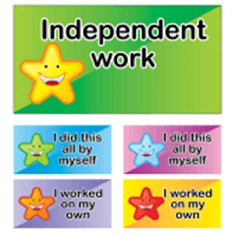 independent work school badges reward stickers