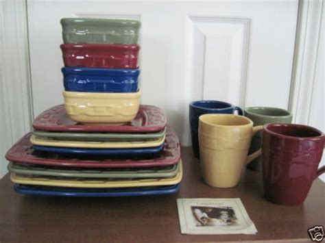 multi colored dishes longaberger woven traditions soft square dinnerware set of