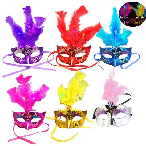 pink and blue mardi gras 6 pack led feather mask mardi gras masquerade