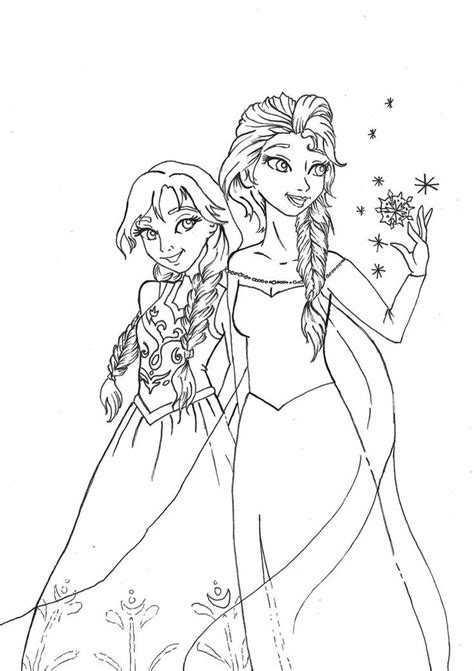 free coloring pages of elsa und anna