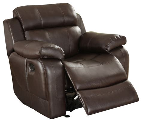 Traditional Leather Recliner by Homelegance Marille Rocking Reclining Chair In Brown