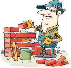 The worker is using mortar to stick the bricks together the tool in