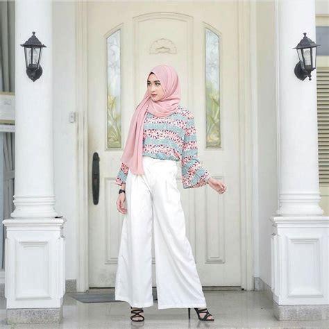 Celana Kulot Bermotif 17 padu padan celana kulot untuk hijabers agar terlihat cantik modis