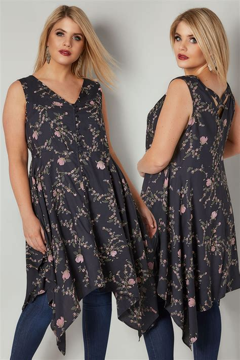 41810 Flowers Dress navy blush pink floral print sleeveless top with cross back hanky hem