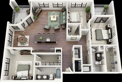 Apartment Layout by 3 Bedroom House Plans 3d Design 7 Artdreamshome