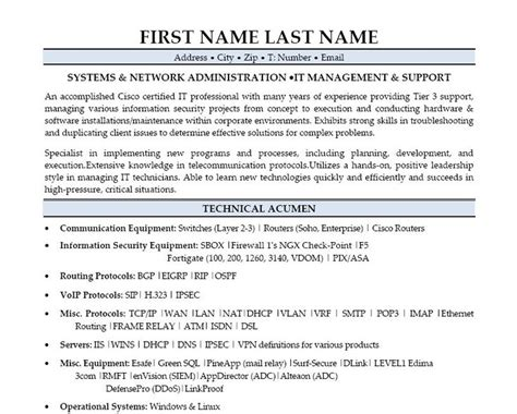 Systems Administrator Resume by 9 Best Best Network Engineer Resume Templates Sles
