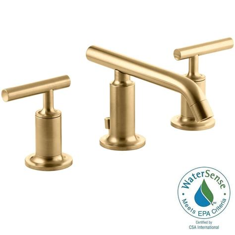 Gold Bathroom Fixtures Kohler Purist 8 In Widespread 2 Handle Bathroom Faucet In Vibrant Modern Brushed Gold K 14410 4