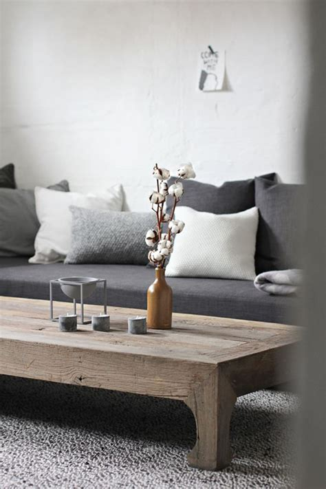 grey sofa with dark wood minimalist wood coffee table