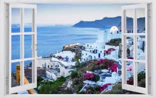greek wall murals giant greece view 3d window art wall decals sticker new