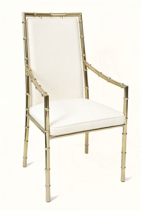 stunning set of six italian brass bamboo dining chairs