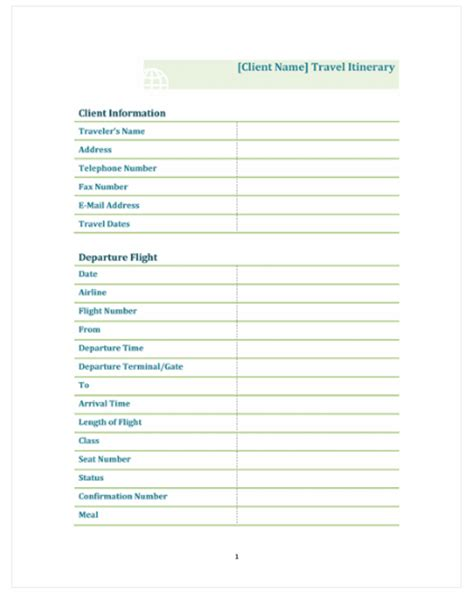 Helpful And Effective Travel And Vacation Itinerary Flight School Business Plan Template
