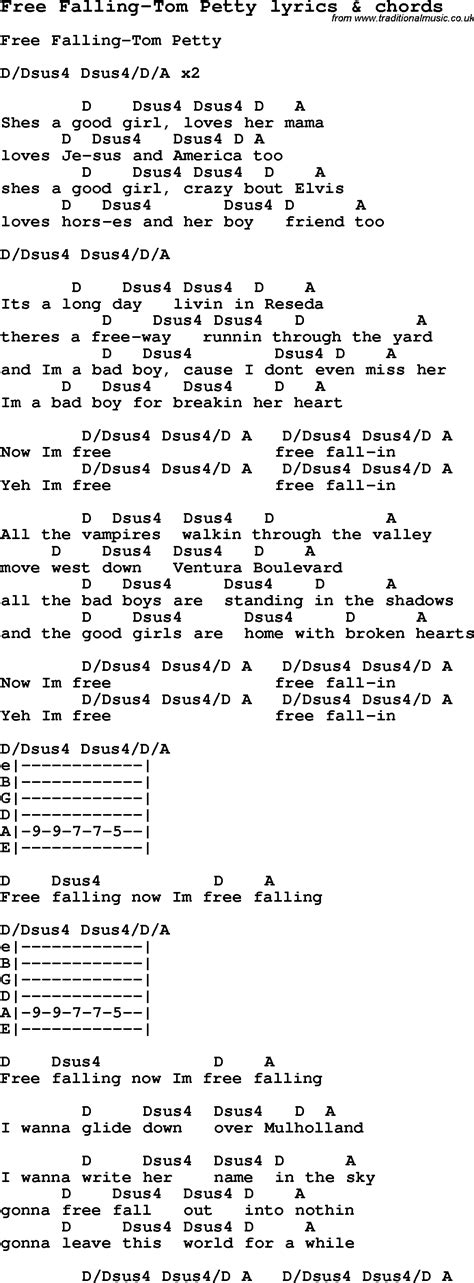 lyrics free song lyrics for free falling tom petty with chords