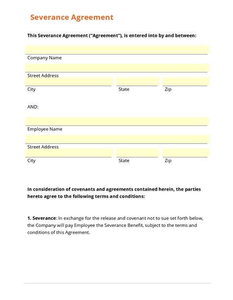 severance agreement template business form template gallery