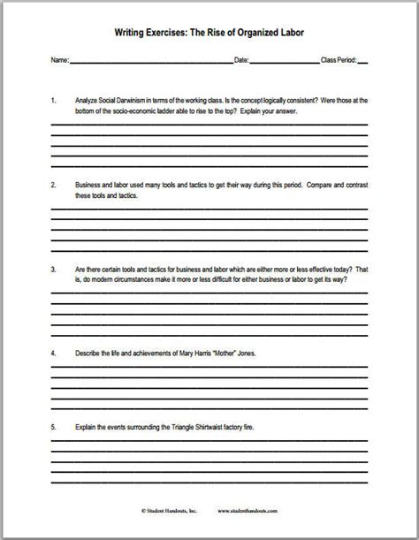 Questions For Essays by The Rise Of Organized Labor Free Printabe Worksheet With Essay Questions