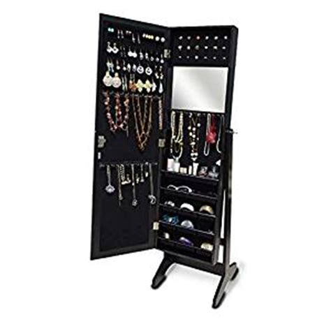 free standing jewelry armoire amazon com organizedlife black free standing wall door