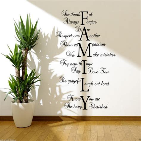 Life Quotes Wall Stickers family love life wall art sticker lounge hall quote decal