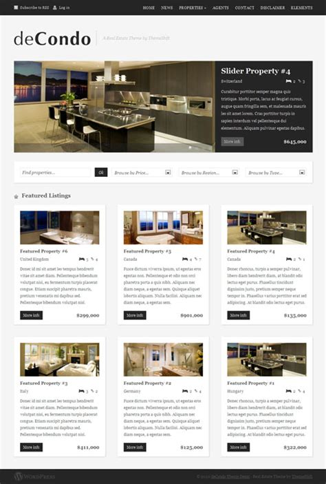 wordpress different layout for homepage real estate wordpress theme decondo