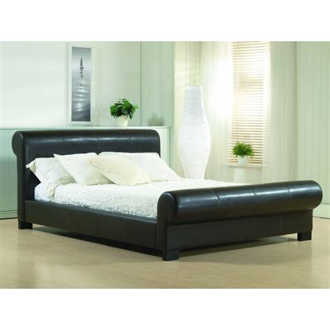leather king bed valencia 6ft super king size brown faux leather bed