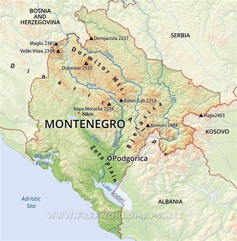 of montenegro montenegro physical map