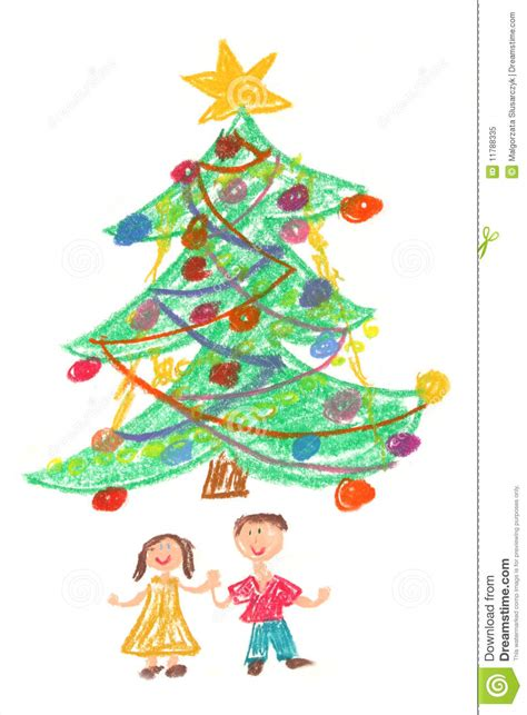 children and christmas tree drawing stock illustration