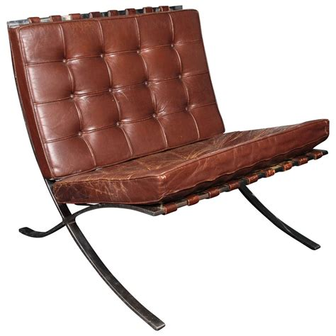 Brown leather barcelona chair by ludwig mies van der rohe for knoll at 1stdibs