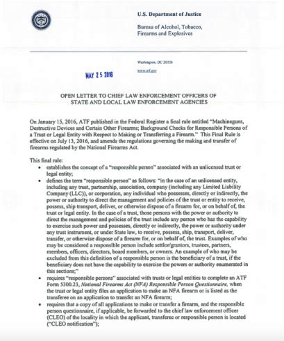 Nfa Letter Requirement update atf releases letter to chief enforcement officers regarding 41f the firearm