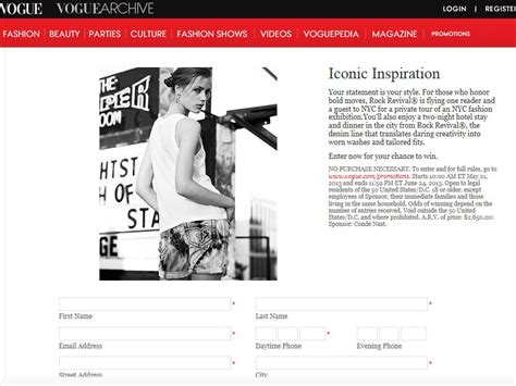 Vogue Sweepstakes - vogue miss me iconic inspiration sweepstakes