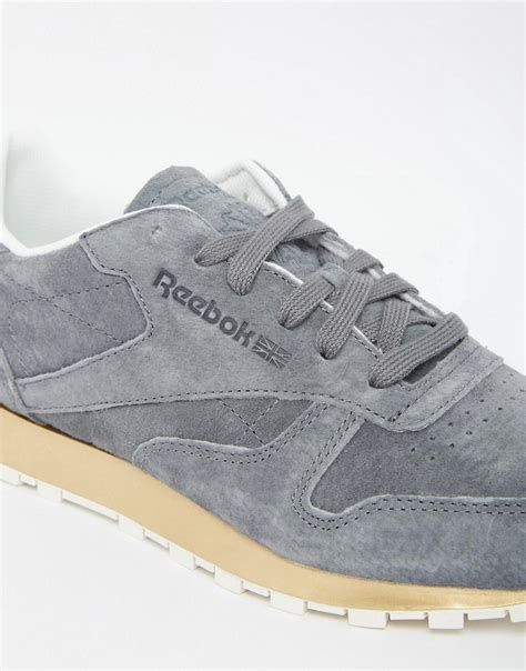 Reebok Classic Gold by Simple Reebok Classic Gray Suede Sneaker With Gold