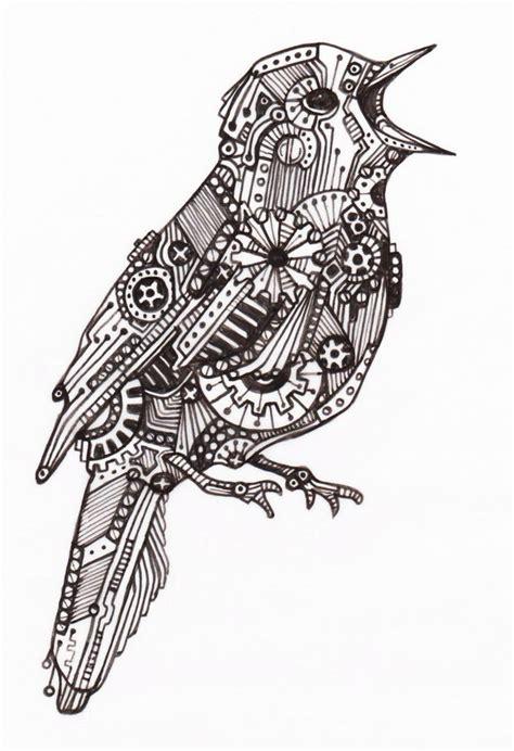 pattern drawing bird mechanical bird 4 by vengeancekitty on deviantart