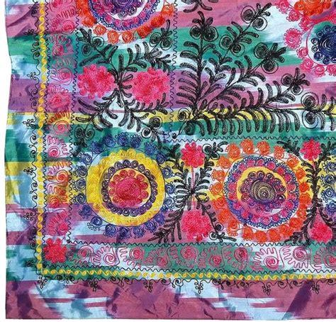 uzbek suzani embroidered textile used as throw wall hanging or embroidered large multi color ikat uzbek suzani textile
