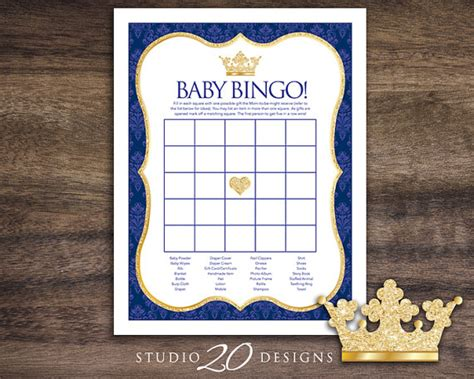 blue themed games instant download royal blue prince baby shower by
