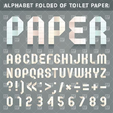 Folded Paper Font - paper alphabet folded toilet paper font royalty free