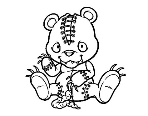 scary teddy bear coloring page coloringcrew com