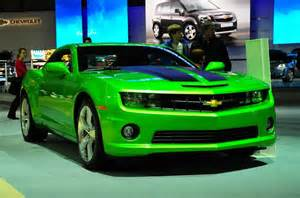 lime green camero with black racing strips cars