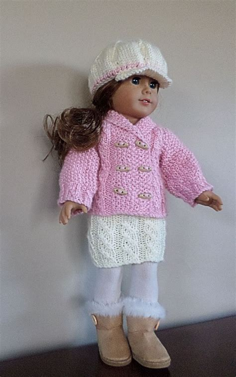 doll cardigan knitting pattern american doll clothes hat cardigan and skirt