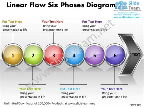 Business Power Point Templates Linear Flow Six Phases Powerpoint Process Flow Template Free
