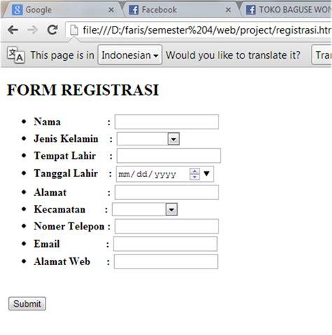 membuat form registrasi mengunakan kode html pemrograman web form registrasi menggunakan bahasa html lembaran kuliahku