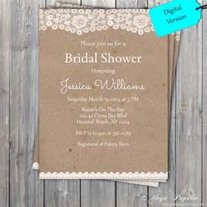 Rustic Bridal Shower Lace Rustic Bridal Shower Invitation Party Invitation