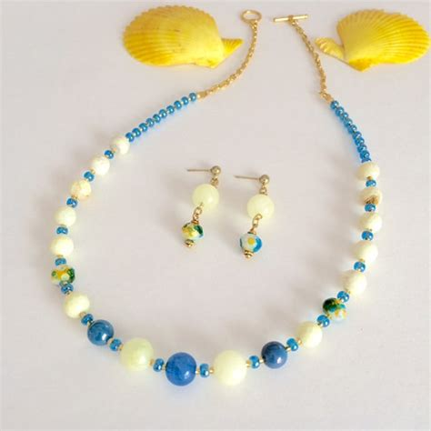 colorful beaded necklace set summer jewelry by