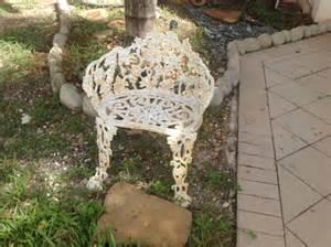 antique wrought iron cast iron white garden by retrodaisygirl