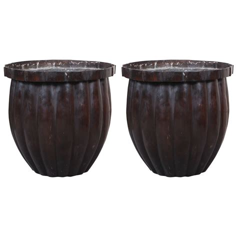 Bronze Planter Pair Large Bronze Colored Planters At 1stdibs