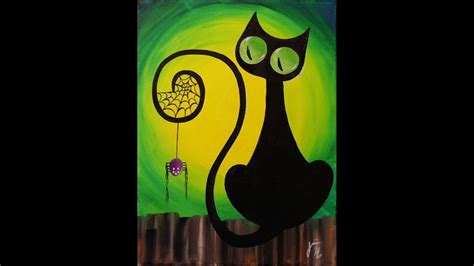 Cat Akrilik Kanvas spooky the cat step by step acrylic painting on canvas for