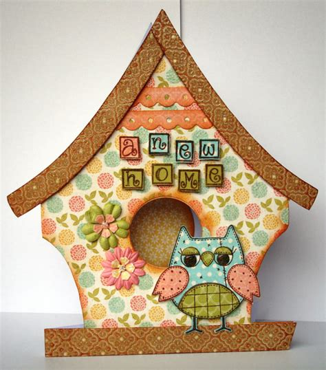 Shaped Handmade Cards - handmade new home owl birdhouse shaped cards by