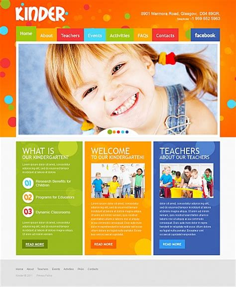 Colorful Day Care Nursery Kindergarten Kids Website Templates Entheos Daycare Website Templates Free