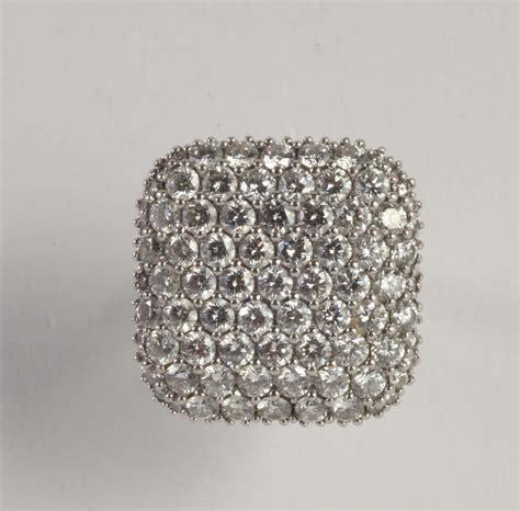 pave di diamanti anello con pav 233 di diamanti per ct 4 00 circa argenti e