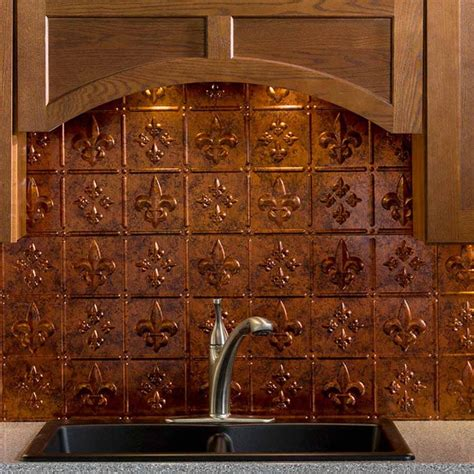 fasade backsplash fleur de lis in moonstone copper