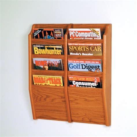 wooden wall magazine rack wooden mallet 8 pocket magazine wall rack in medium oak