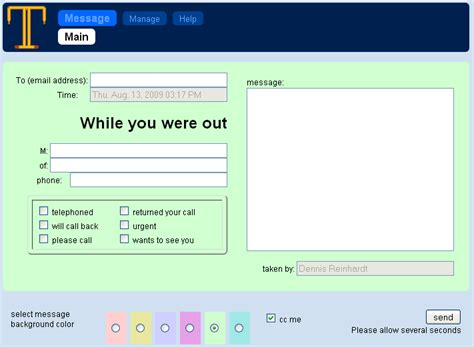 outlook telephone message template software